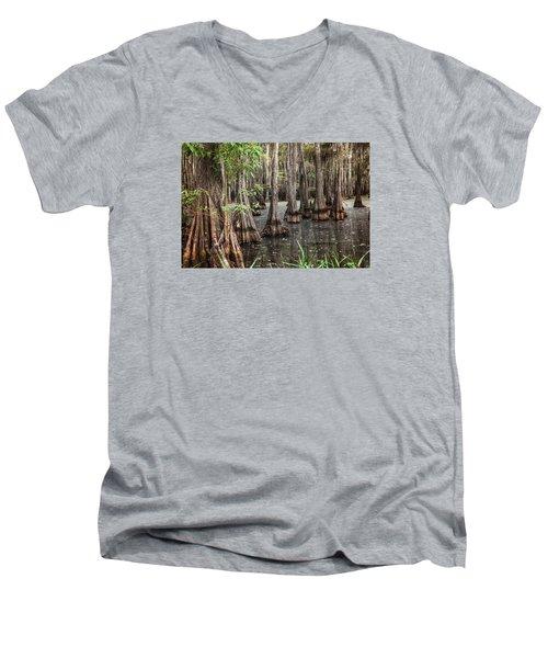 Dark Swamp Men's V-Neck T-Shirt by Ester  Rogers