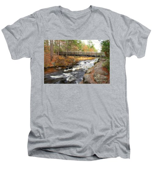 Men's V-Neck T-Shirt featuring the photograph Dave's Falls #7480 by Mark J Seefeldt