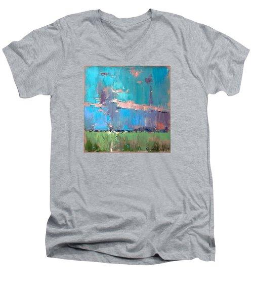 Men's V-Neck T-Shirt featuring the painting Dawn by Anastasija Kraineva