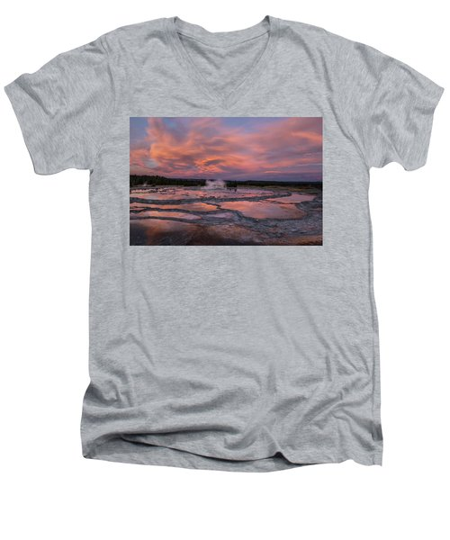 Men's V-Neck T-Shirt featuring the photograph Dawn At Great Fountain Geyser by Roman Kurywczak