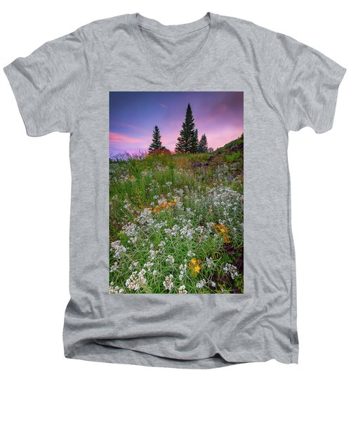 Men's V-Neck T-Shirt featuring the photograph Dawn At Height Of Land by Rick Berk