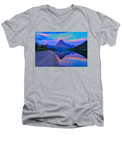 Dawn At Two Medicine Lake Men's V-Neck T-Shirt by Greg Norrell