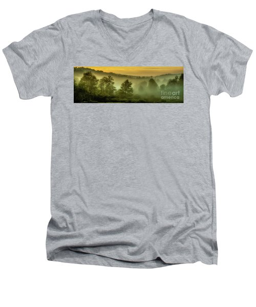 Men's V-Neck T-Shirt featuring the photograph Dawn At Wildlife Management Area by Thomas R Fletcher
