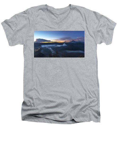 Dawn Breaking Scene Of Mt Bromo Men's V-Neck T-Shirt