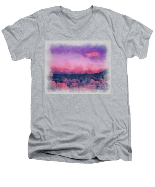 Dawn In Taos In Aquarelle Men's V-Neck T-Shirt