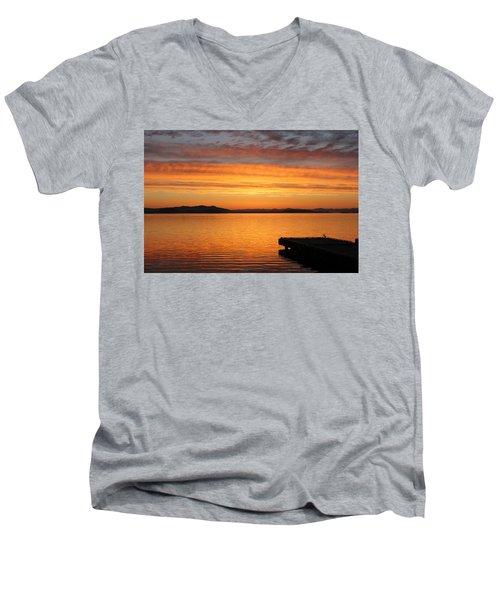 Dawn In The Sky At Dusavik Men's V-Neck T-Shirt