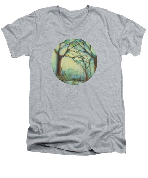 Men's V-Neck T-Shirt featuring the painting Dawn by Mary Wolf
