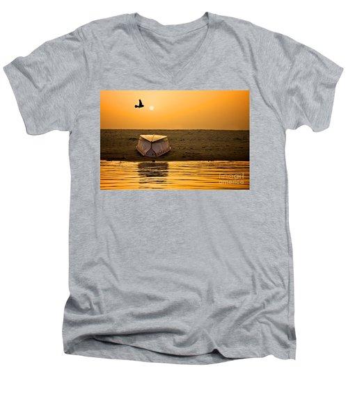 Dawn On The Ganga Men's V-Neck T-Shirt by Valerie Rosen