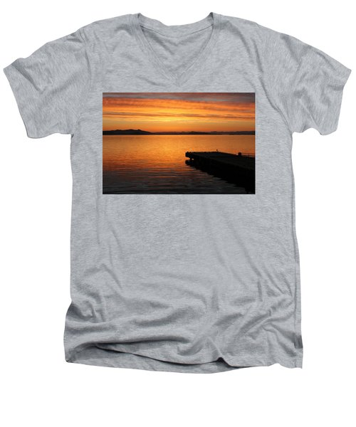 Dawn On The Water At Dusavik Men's V-Neck T-Shirt
