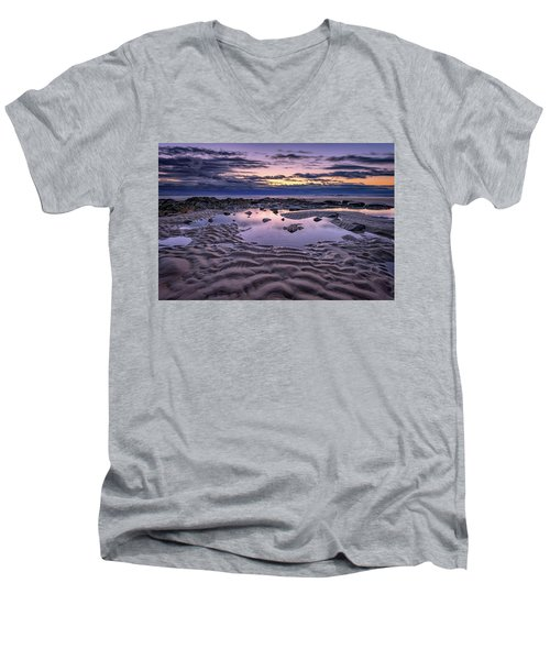Men's V-Neck T-Shirt featuring the photograph Dawn On Wells Beach by Rick Berk