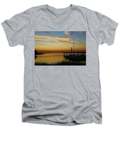 Dawn Over The Bay Men's V-Neck T-Shirt