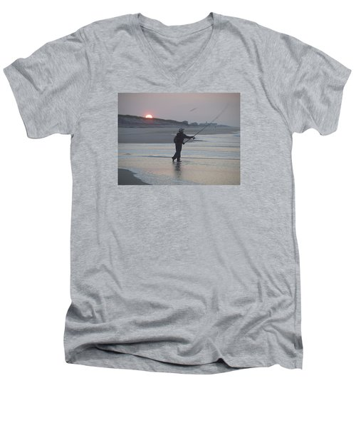 Men's V-Neck T-Shirt featuring the photograph Dawn Patrol by Newwwman