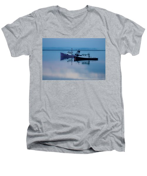 Dawn Rising Over The Harbor Men's V-Neck T-Shirt by Jeff Folger
