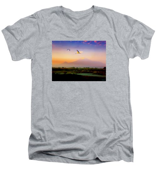 Dawn With Storks And Ararat From Night Train To Yerevan II Men's V-Neck T-Shirt by Anastasia Savage Ealy