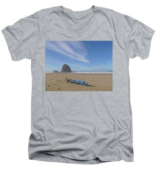 Day At Haystack Rock Men's V-Neck T-Shirt by Suzy Piatt