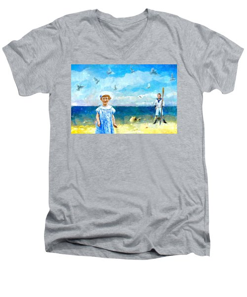 Men's V-Neck T-Shirt featuring the digital art Day At The Shore by Alexis Rotella