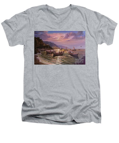 Men's V-Neck T-Shirt featuring the painting Day Ends On The Amalfi Coast by Rosario Piazza