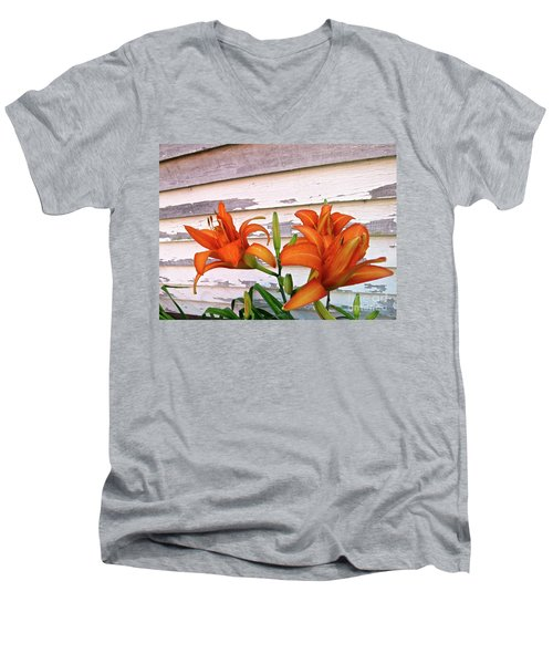 Day Lilies And Peeling Paint Men's V-Neck T-Shirt by Nancy Patterson