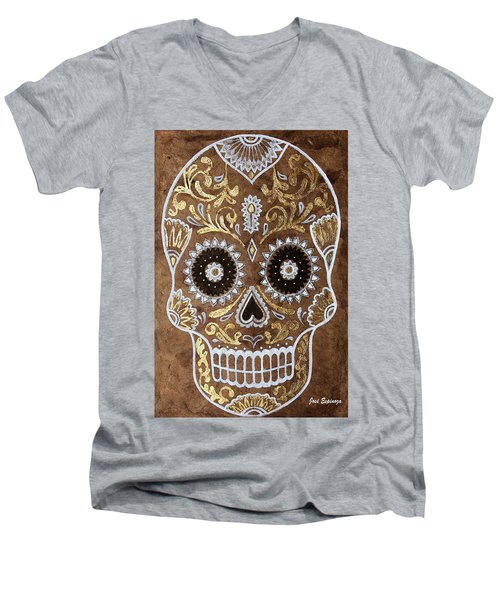 Men's V-Neck T-Shirt featuring the painting Day Of Death by J- J- Espinoza
