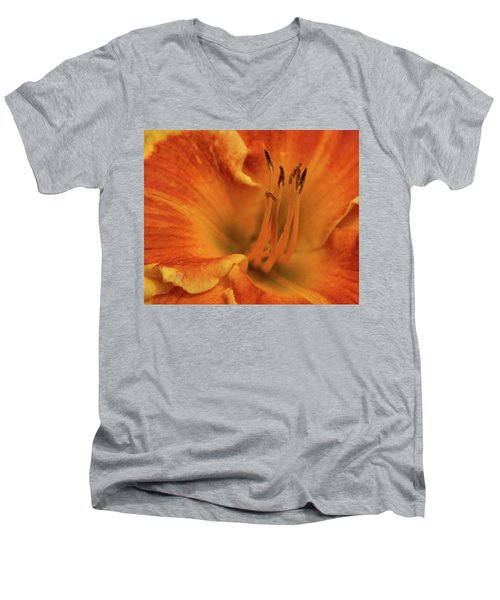 Men's V-Neck T-Shirt featuring the photograph Daylily Close-up by Sandy Keeton
