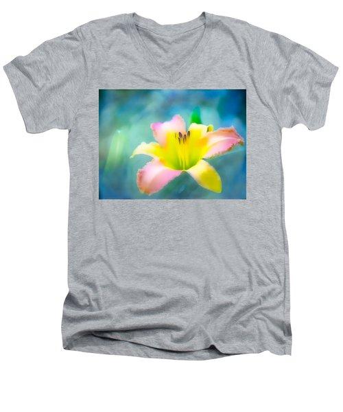 Daylily In Blue Men's V-Neck T-Shirt