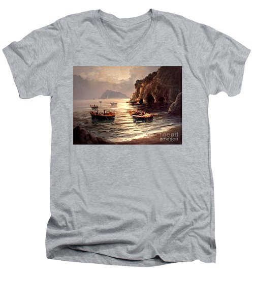Men's V-Neck T-Shirt featuring the painting Day's End And Work Begins In The Gulf Of Naples by Rosario Piazza