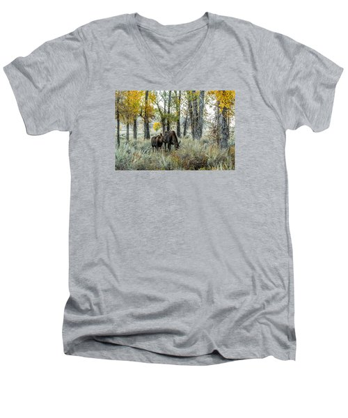Men's V-Neck T-Shirt featuring the photograph Day's End At Gros Ventre by Yeates Photography