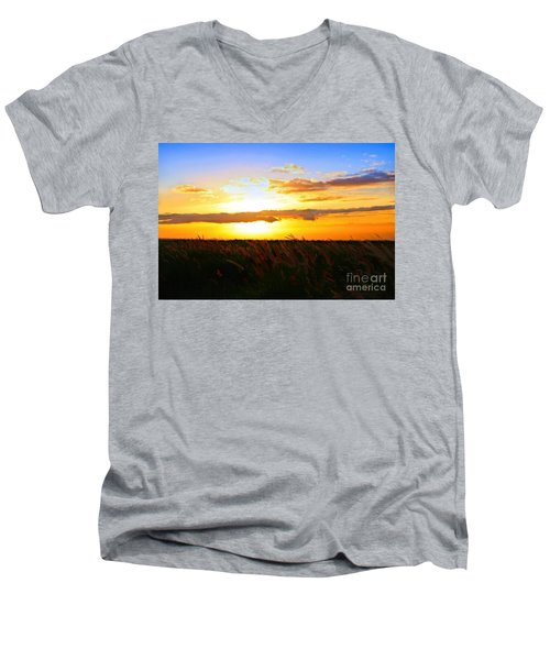 Men's V-Neck T-Shirt featuring the photograph Day's End by DJ Florek