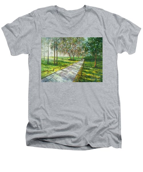 Dayspring Retreat Men's V-Neck T-Shirt by Lou Ann Bagnall