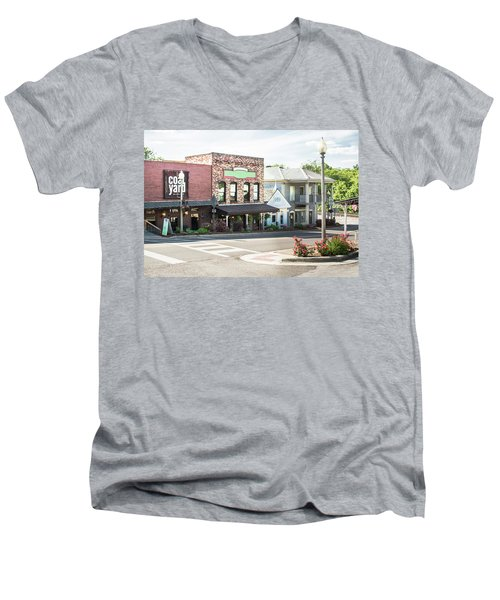 Men's V-Neck T-Shirt featuring the photograph Daytime In Old Town Helena by Parker Cunningham