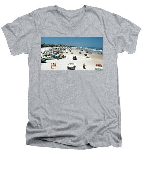 Daytona Beach Florida - 1957 Men's V-Neck T-Shirt by Merton Allen