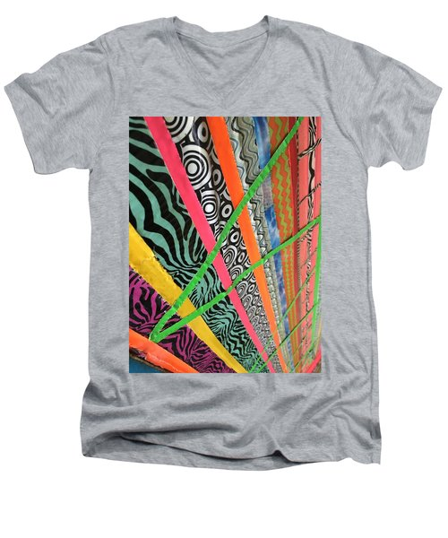 Dazzling Delirious Duct Tape Diagonals Men's V-Neck T-Shirt by Douglas Fromm