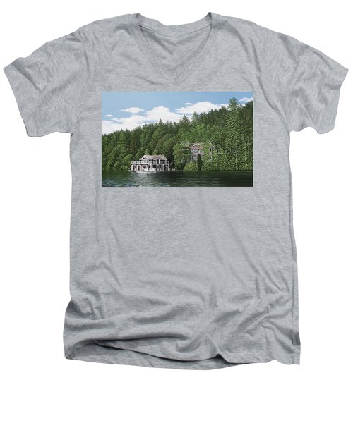 Men's V-Neck T-Shirt featuring the painting De Groote Summer Home Muskoka by Kenneth M Kirsch