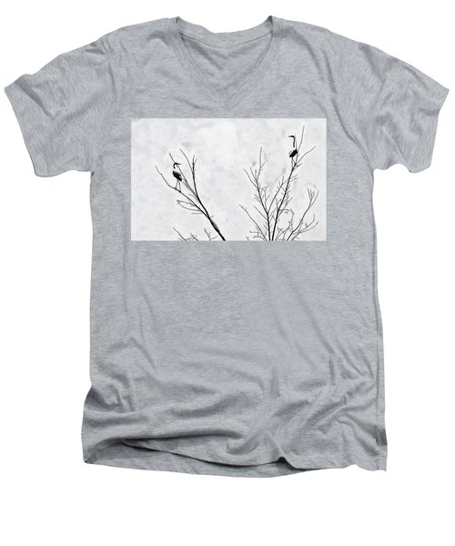 Dead Creek Cranes Men's V-Neck T-Shirt by Jim Proctor