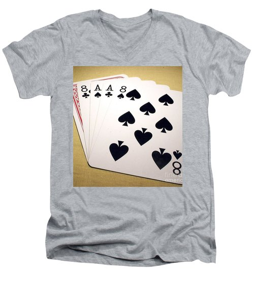 Dead Mans Hand Men's V-Neck T-Shirt by Pg Reproductions