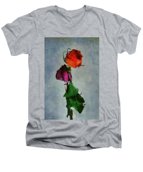 Dead Roses Men's V-Neck T-Shirt by Francesa Miller