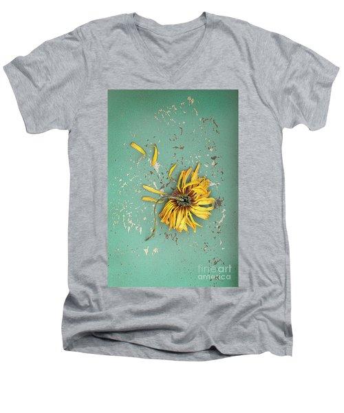 Men's V-Neck T-Shirt featuring the photograph Dead Suflower by Jill Battaglia