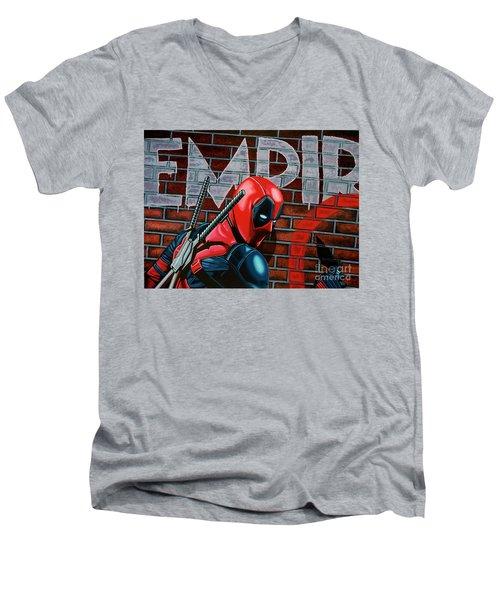 Deadpool Painting Men's V-Neck T-Shirt by Paul Meijering