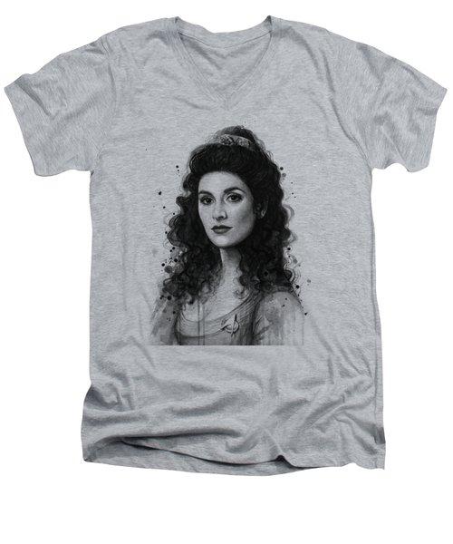 Deanna Troi - Star Trek Fan Art Men's V-Neck T-Shirt by Olga Shvartsur