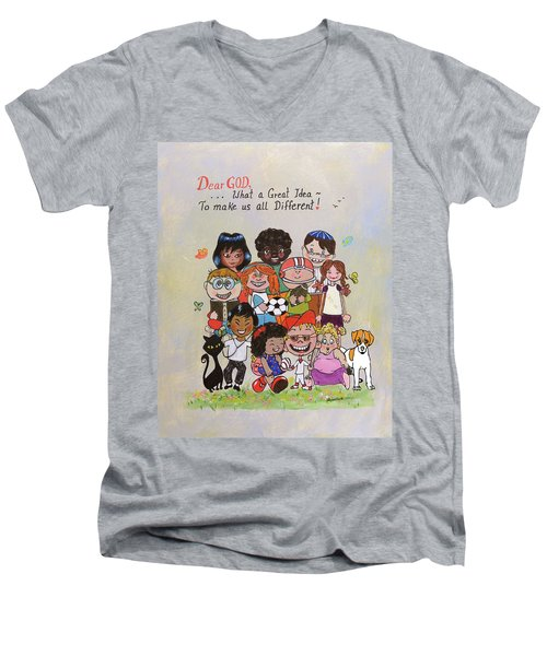 Dear God, What A Great Idea Men's V-Neck T-Shirt
