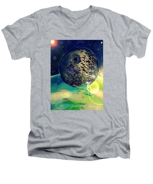 Death Star Illustration  Men's V-Neck T-Shirt by Justin Moore