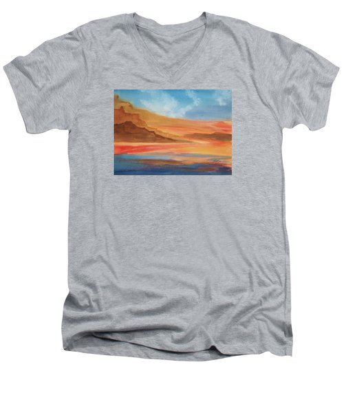 Men's V-Neck T-Shirt featuring the painting Death Valley by Ellen Levinson