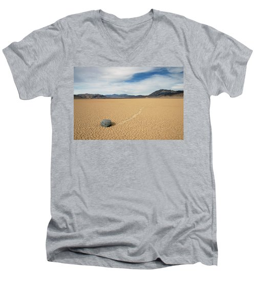 Men's V-Neck T-Shirt featuring the photograph Death Valley Ractrack by Breck Bartholomew