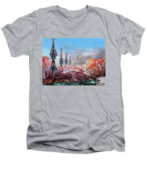 Decalcomaniac Transmission Towers Men's V-Neck T-Shirt