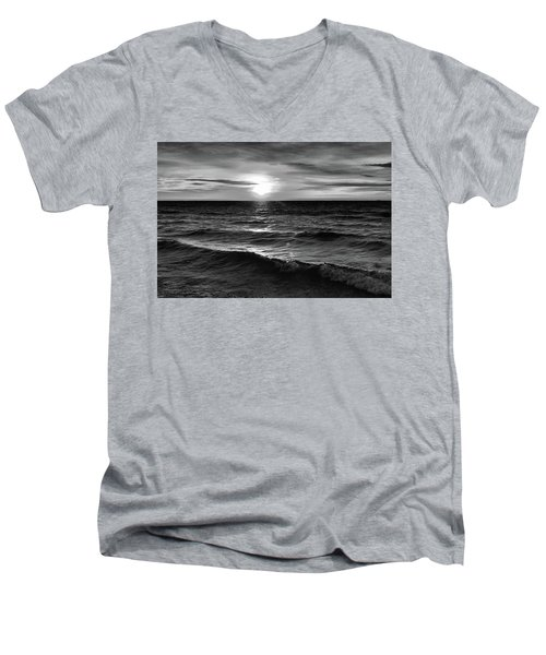 December 20-2016 Sunrise At Oro Station Bw  Men's V-Neck T-Shirt
