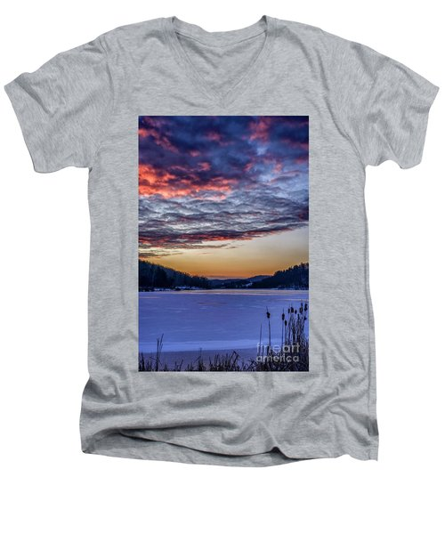 December Dawn On The Lake Men's V-Neck T-Shirt