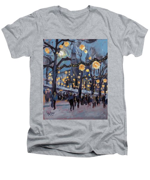 December Lights At The Our Lady Square Maastricht 1 Men's V-Neck T-Shirt by Nop Briex