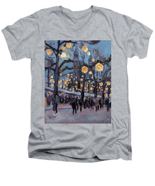 December Lights At The Our Lady Square Maastricht 1 Men's V-Neck T-Shirt