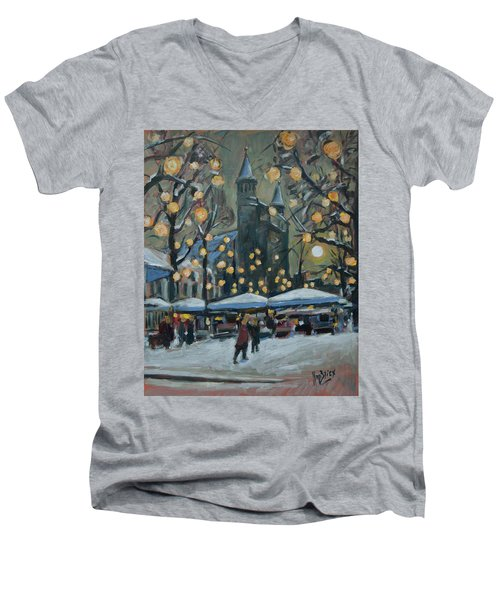 December Lights At The Our Lady Square Maastricht 2 Men's V-Neck T-Shirt by Nop Briex