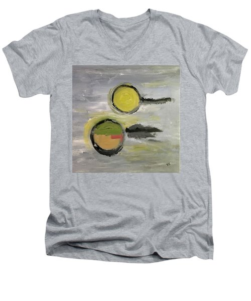 Men's V-Neck T-Shirt featuring the painting Deconstruction by Victoria Lakes